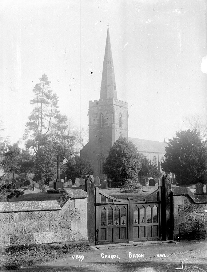 Saint Mark's church and entrance gates, Bilton.  1920s |  IMAGE LOCATION: (Warwickshire County Record Office)