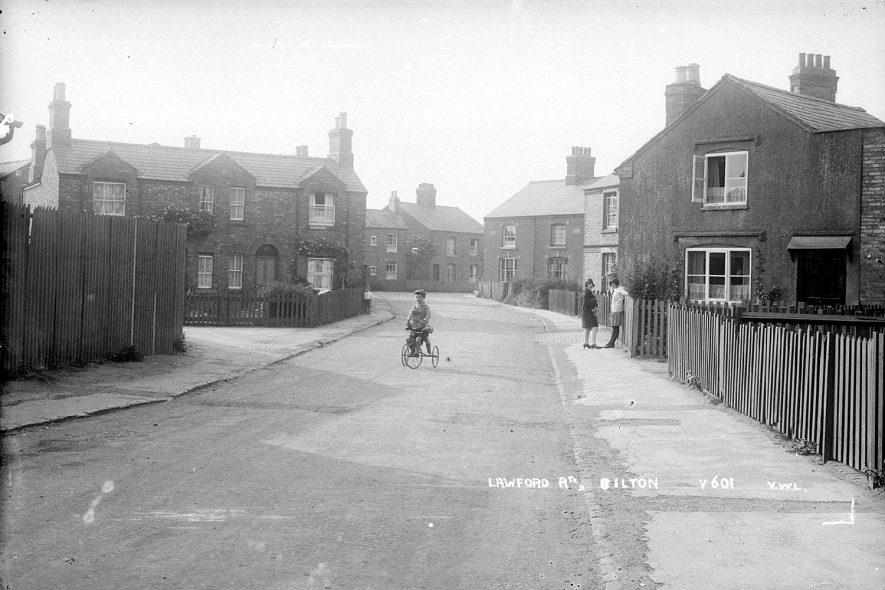Child playing on a tricycle in Lawford Lane, Bilton.  1930s |  IMAGE LOCATION: (Warwickshire County Record Office)