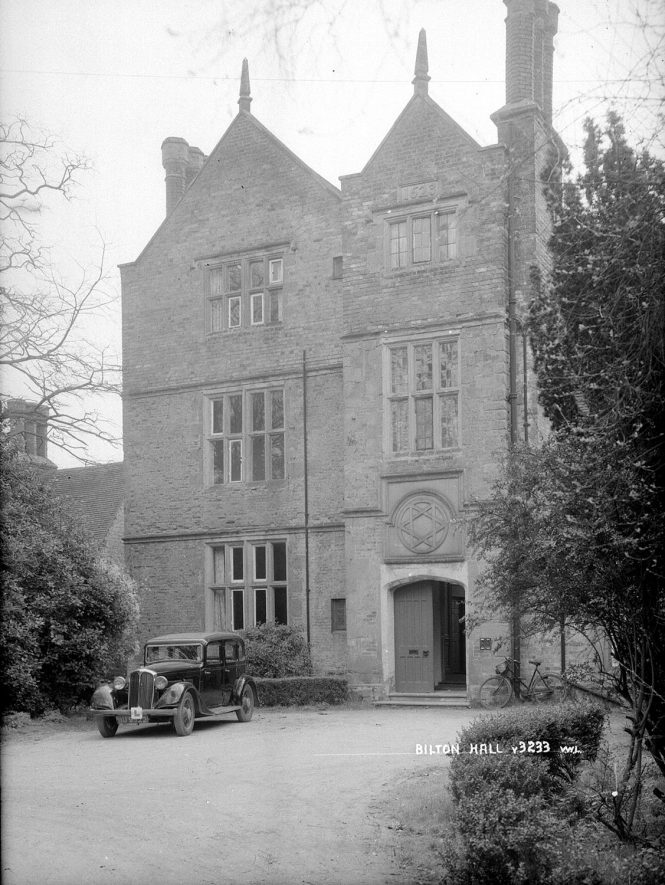 The porch and gabled block were built by Thomas Boughton in 1623, Bilton Hall.  1930s |  IMAGE LOCATION: (Warwickshire County Record Office)