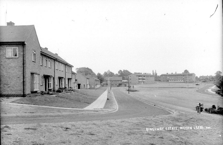 Admirals housing estate, Bilton.  1930s [It has been pointed out that this photograph is incorrectly labelled as the Kingsway estate][The road shown is Nelson Way, Kingsway Estate. These houses were built in the 1950s by English Electric, the blocks of flats on the right of the photo are in Queensferry Close also part of the same estate.][The road is named after George Horatio Nelson, Chairman of the English Electric for some 30 years. It has nothing to do with the adjacent Admirals Estate built much later.] |  IMAGE LOCATION: (Warwickshire County Record Office)