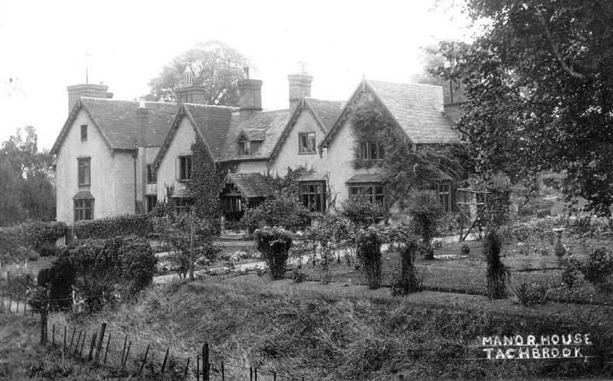 Manor House, Bishops Tachbrook with gardens to front and side.  1920s |  IMAGE LOCATION: (Warwickshire County Record Office)