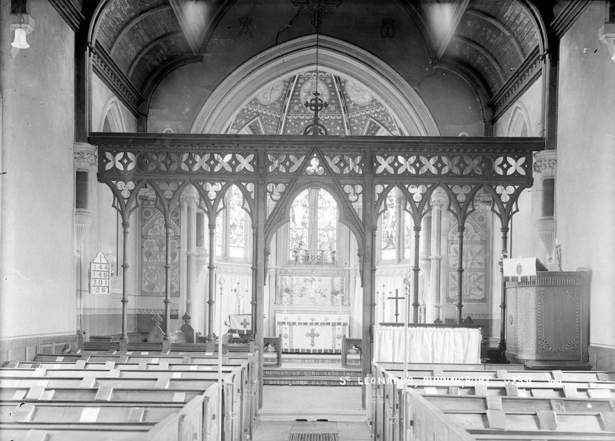 St Leonard's Church interior, Birdingbury, showing the East end and the chancel screen.  1930s |  IMAGE LOCATION: (Warwickshire County Record Office)