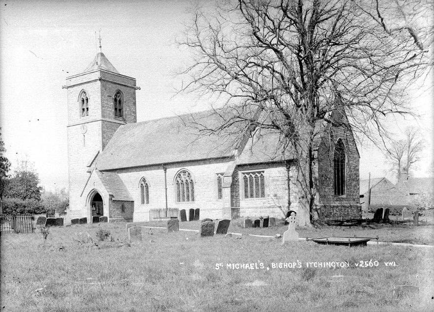St Michael's Church exterior, Bishops Itchington.  1930s |  IMAGE LOCATION: (Warwickshire County Record Office)