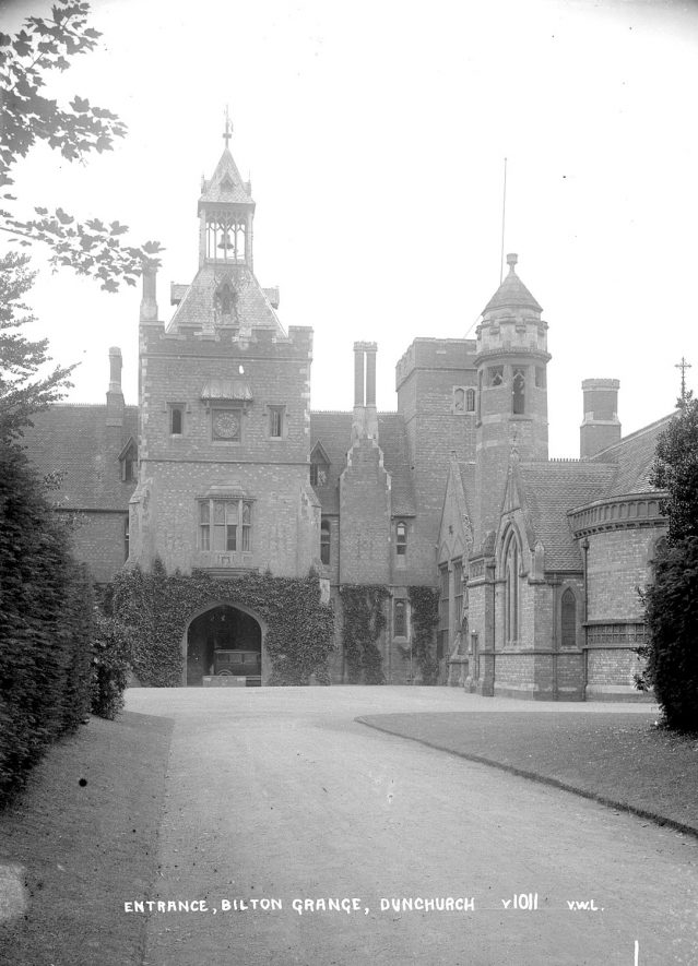 Entrance to Bilton Grange at Dunchurch, now converted to a prep school for boys.  1930s    IMAGE LOCATION: (Warwickshire County Record Office)