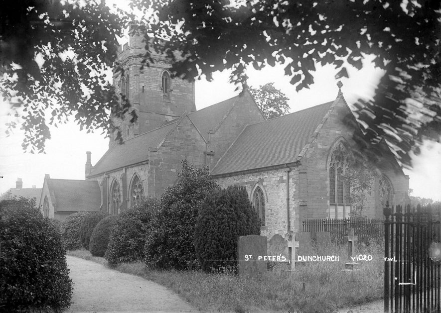 Exterior of St Peter's church, Dunchurch.  1930s |  IMAGE LOCATION: (Warwickshire County Record Office)