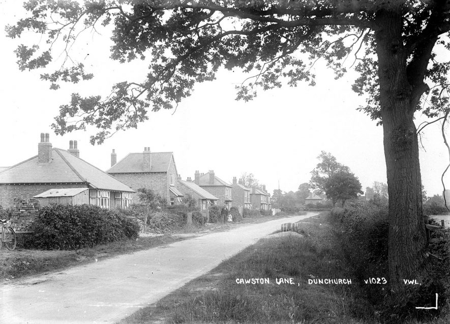View along Cawston Lane, Dunchurch.  1930s |  IMAGE LOCATION: (Warwickshire County Record Office)
