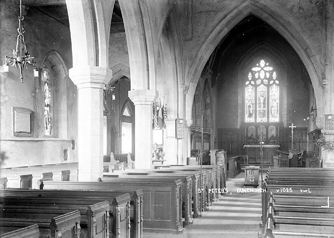 St Peter's church interior looking east, Dunchurch.  1930s |  IMAGE LOCATION: (Warwickshire County Record Office)