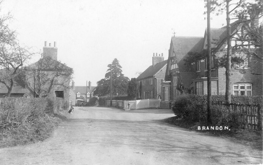 Part of Brandon village street showing Working Men's Club.  1930s |  IMAGE LOCATION: (Warwickshire County Record Office)