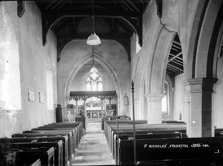 Interior view of St Nicholas church, Frankton. 1950s |  IMAGE LOCATION: (Warwickshire County Record Office)