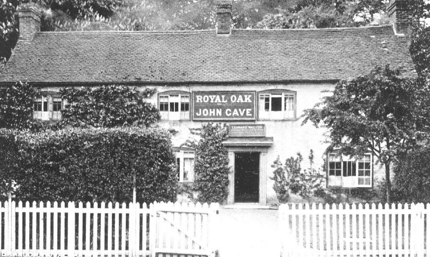 Front exterior of the Royal Oak Inn, Brandon. Proprietor John Cave.  1930s |  IMAGE LOCATION: (Warwickshire County Record Office)