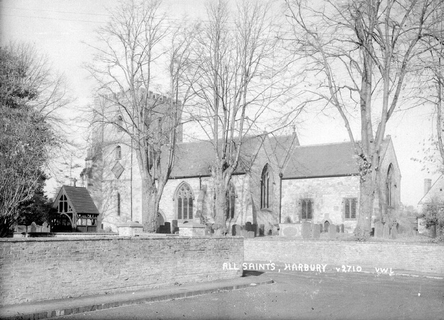 Exterior view of All Saint's church, Harbury.  1950s |  IMAGE LOCATION: (Warwickshire County Record Office)