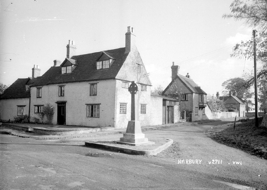 The war memorial at the junction of Crown Street and Dovehouse Lane, Harbury.  1950s |  IMAGE LOCATION: (Warwickshire County Record Office)