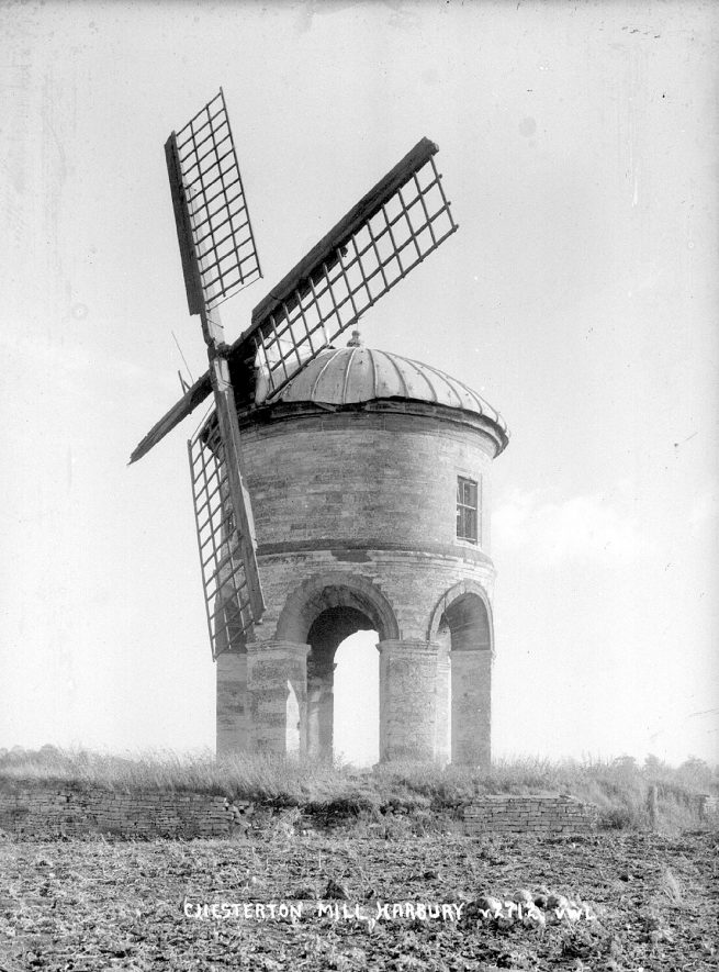 View of the windmill at Chesterton.  1950s |  IMAGE LOCATION: (Warwickshire County Record Office)
