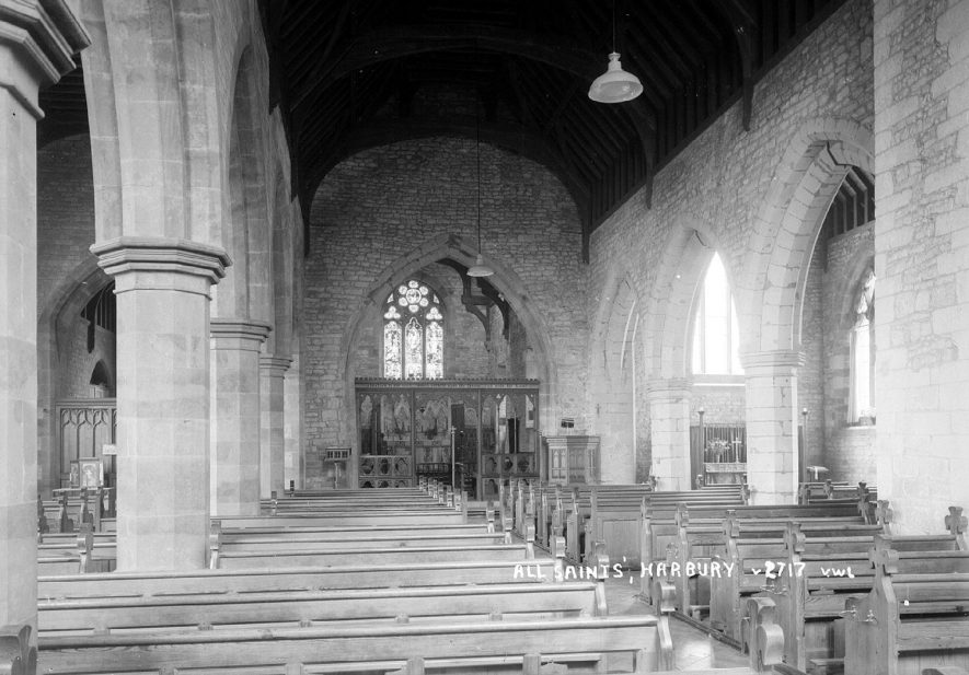 Interior of All Saint's church, Harbury, looking towards the altar.  1950s |  IMAGE LOCATION: (Warwickshire County Record Office)