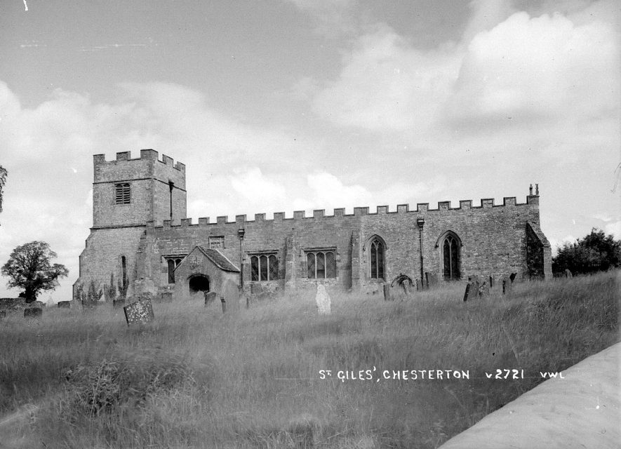 View of the church and graveyard at Chesterton.  1950s |  IMAGE LOCATION: (Warwickshire County Record Office)