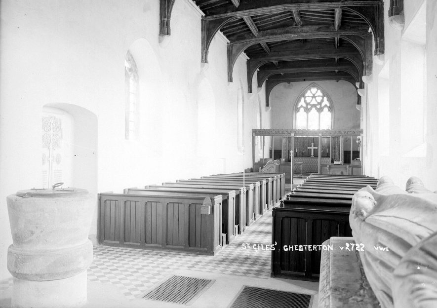 The interior of St Giles church at Chesterton.  1950s |  IMAGE LOCATION: (Warwickshire County Record Office)