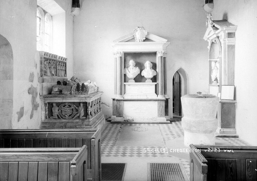 Interior of St Giles church, Chesterton.  1950s |  IMAGE LOCATION: (Warwickshire County Record Office)