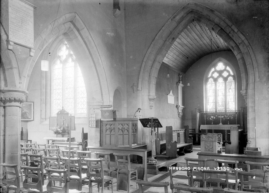 Interior of All Saint's church, Harborough Magna.  1950s |  IMAGE LOCATION: (Warwickshire County Record Office)