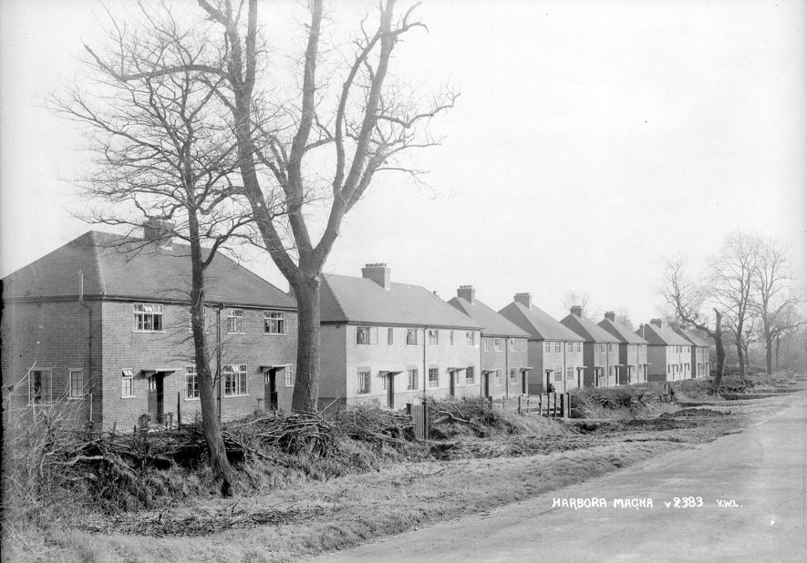 A row of new semi-detached houses in Harborough Magna.  1950s |  IMAGE LOCATION: (Warwickshire County Record Office)