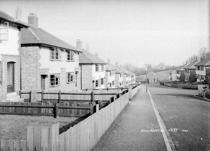 Semi-detached houses and Methodist chapel in Fenwick Drive, Hillmorton.  1930s  |  IMAGE LOCATION: (Warwickshire County Record Office)