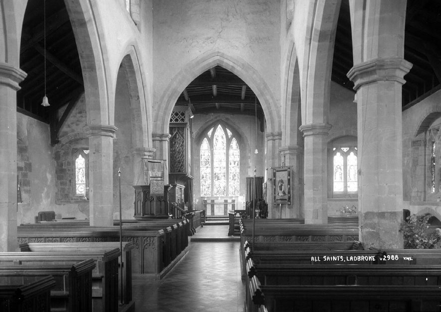 All Saints Church Interior looking east, Ladbroke.  1930s |  IMAGE LOCATION: (Warwickshire County Record Office)
