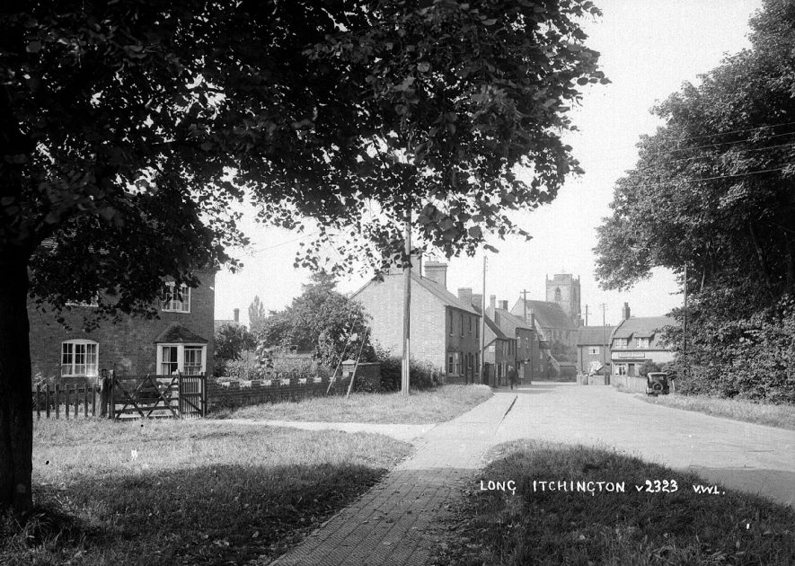 View along Church Road, Long Itchington.  1930s |  IMAGE LOCATION: (Warwickshire County Record Office)