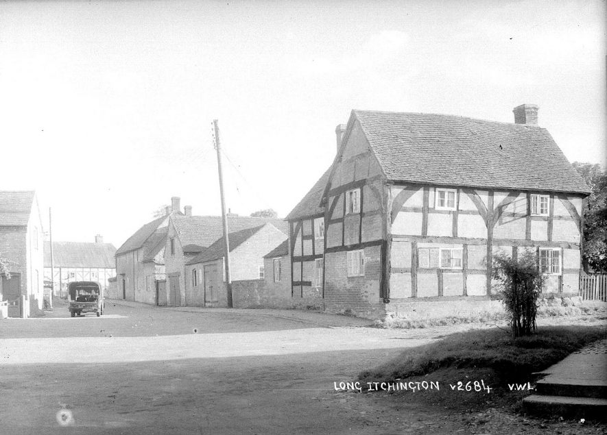 Timber framed house and other cottages in Long Itchington.  1950s