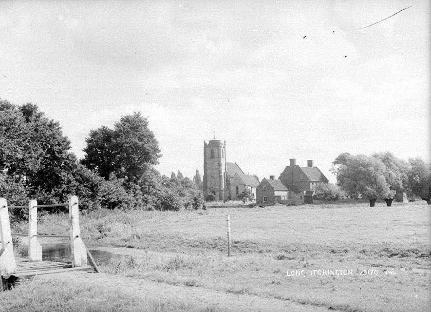 Holy Trinity church, Long Itchington, as seen across the fields.  1950s |  IMAGE LOCATION: (Warwickshire County Record Office)