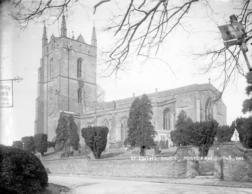 The parish church of St Edith at Monks Kirby.  1960s |  IMAGE LOCATION: (Warwickshire County Record Office)
