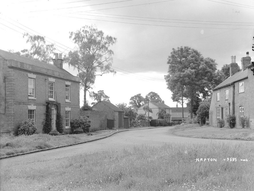 Houses and village street, Napton on the Hill.  1950s |  IMAGE LOCATION: (Warwickshire County Record Office)