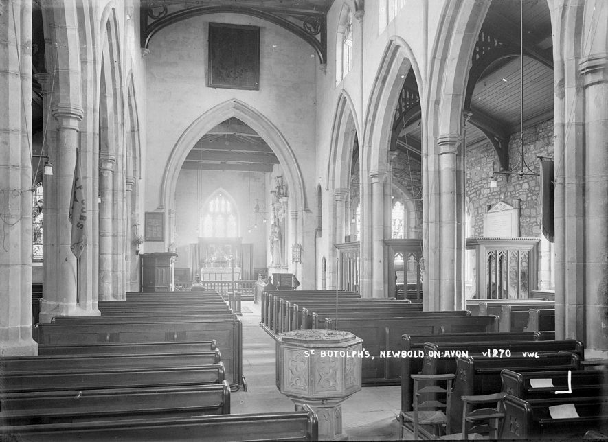 Interior of St Botolph's church, Newbold on Avon.  1930s |  IMAGE LOCATION: (Warwickshire County Record Office)