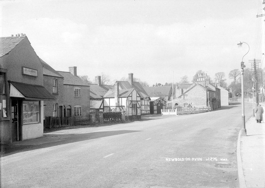 Village street and J.L. Clarke's butchers shop, Newbold on Avon.  1930s |  IMAGE LOCATION: (Warwickshire County Record Office)