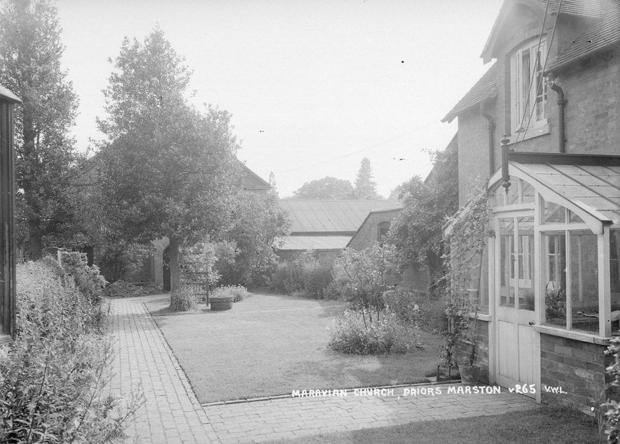 Moravian Church and garden, Priors Marston.  1926 |  IMAGE LOCATION: (Warwickshire County Record Office)