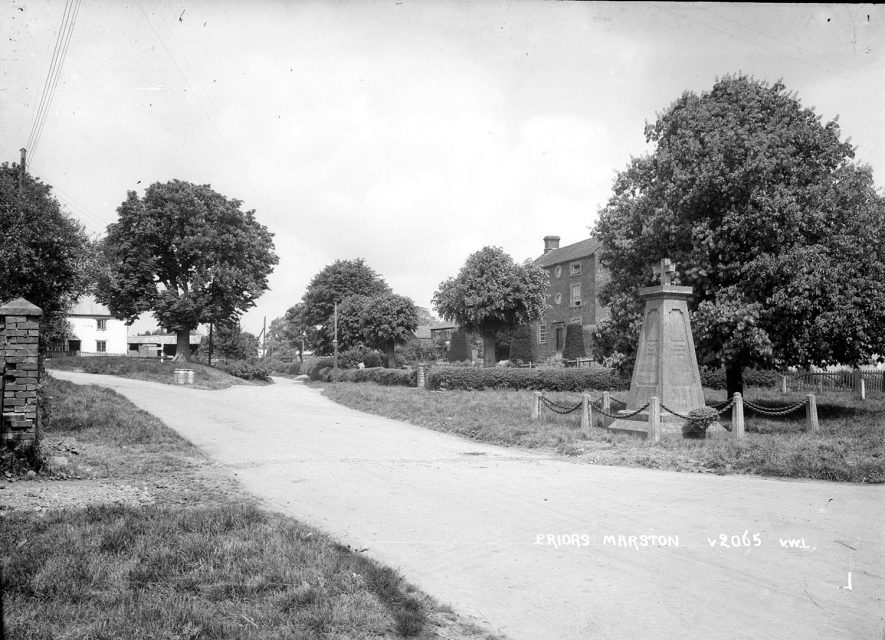 The war memorial in Priors Marston.  1950s |  IMAGE LOCATION: (Warwickshire County Record Office)