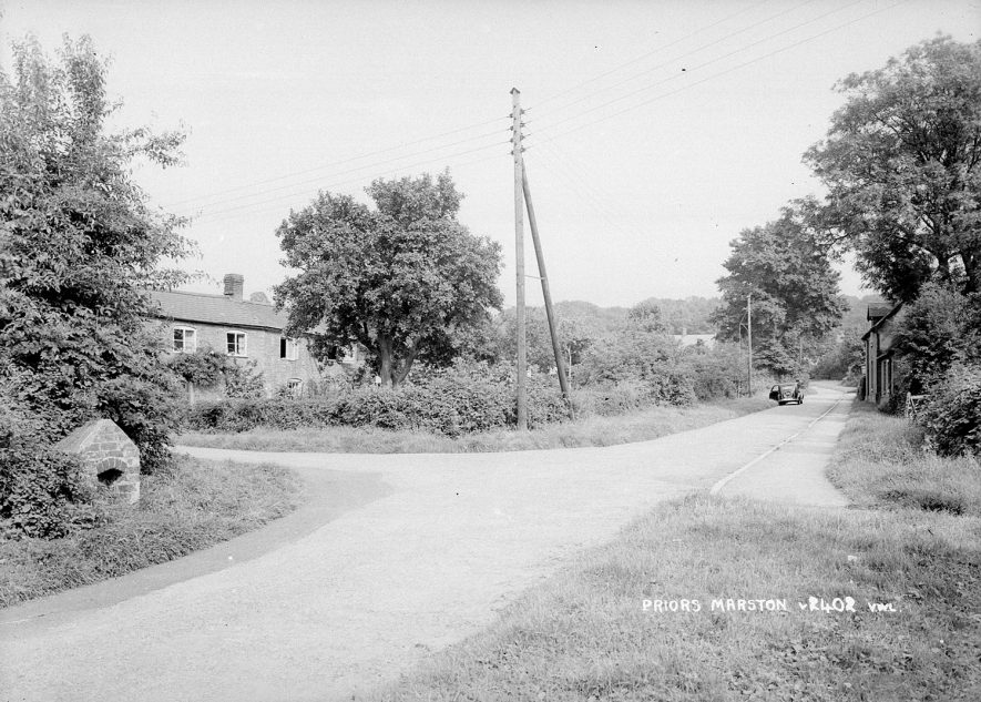 Village road and ? well in Priors Marston.  1950s |  IMAGE LOCATION: (Warwickshire County Record Office) SCAN DATE: (1/300)