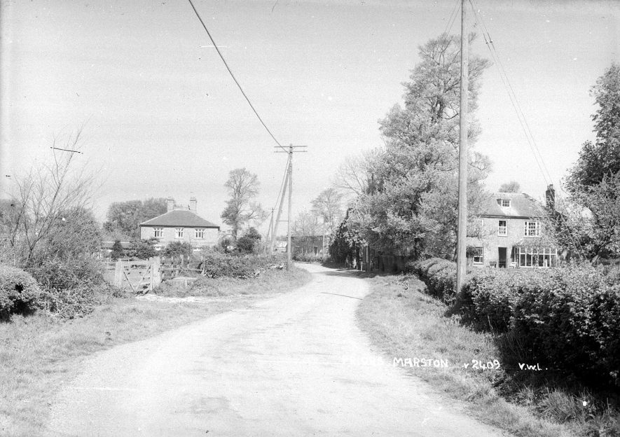 A unidentified road in Priors Marston.  1950s |  IMAGE LOCATION: (Warwickshire County Record Office)