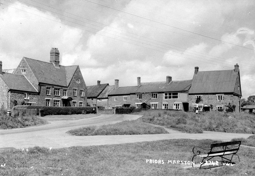 Cottages at a road junction in Priors Marston.  1950s |  IMAGE LOCATION: (Warwickshire County Record Office)