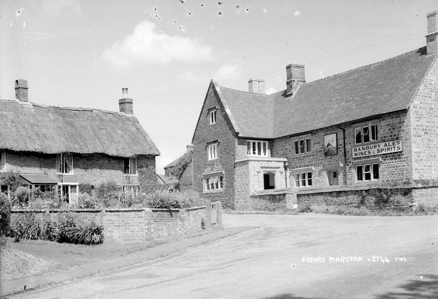 The Falcon Inn and cottages in Priors Marston.  1950s |  IMAGE LOCATION: (Warwickshire County Record Office)
