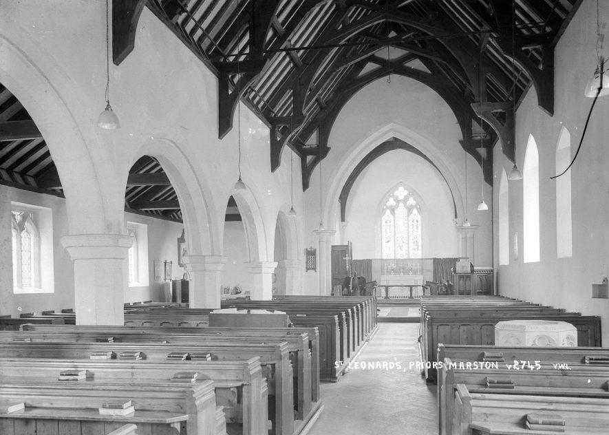 Interior of St Leonard's church, Priors Marston.  1950s |  IMAGE LOCATION: (Warwickshire County Record Office)