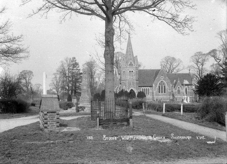 St John the Baptist church and war memorial, Lower Shuckburgh.  1930s |  IMAGE LOCATION: (Warwickshire County Record Office)
