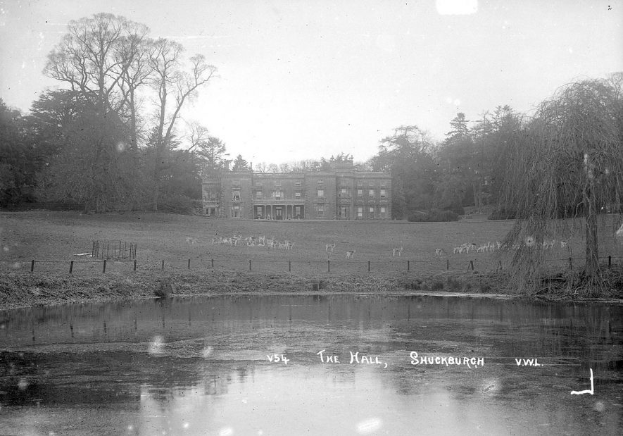 Shuckburgh Hall and lake, Shuckburgh Park.  1930s |  IMAGE LOCATION: (Warwickshire County Record Office)