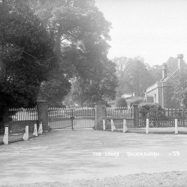 Shuckburgh Park.  Hall Lodge and gates