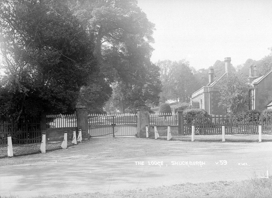 The lodge and gates at the entrance to Shuckburgh Hall, Shuckburgh Park.  1930s |  IMAGE LOCATION: (Warwickshire County Record Office)