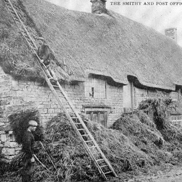 Brailes, Upper.  Thatching the Post Office