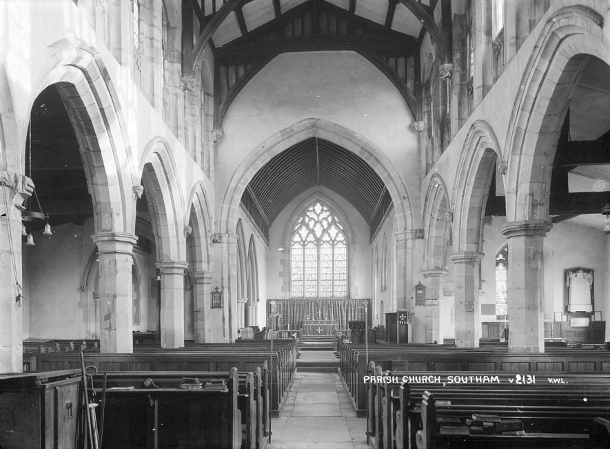 Southam Parish Church interior.  1930s |  IMAGE LOCATION: (Warwickshire County Record Office)