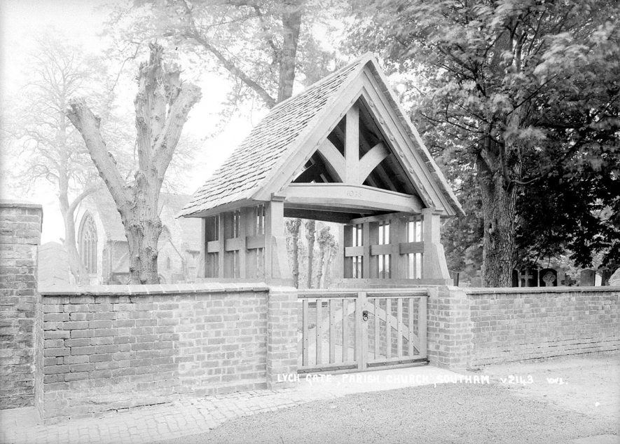 Southam Parish Church lych gate.  1930s |  IMAGE LOCATION: (Warwickshire County Record Office)