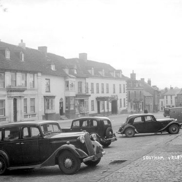 Southam.  Market Hill, with parked cars
