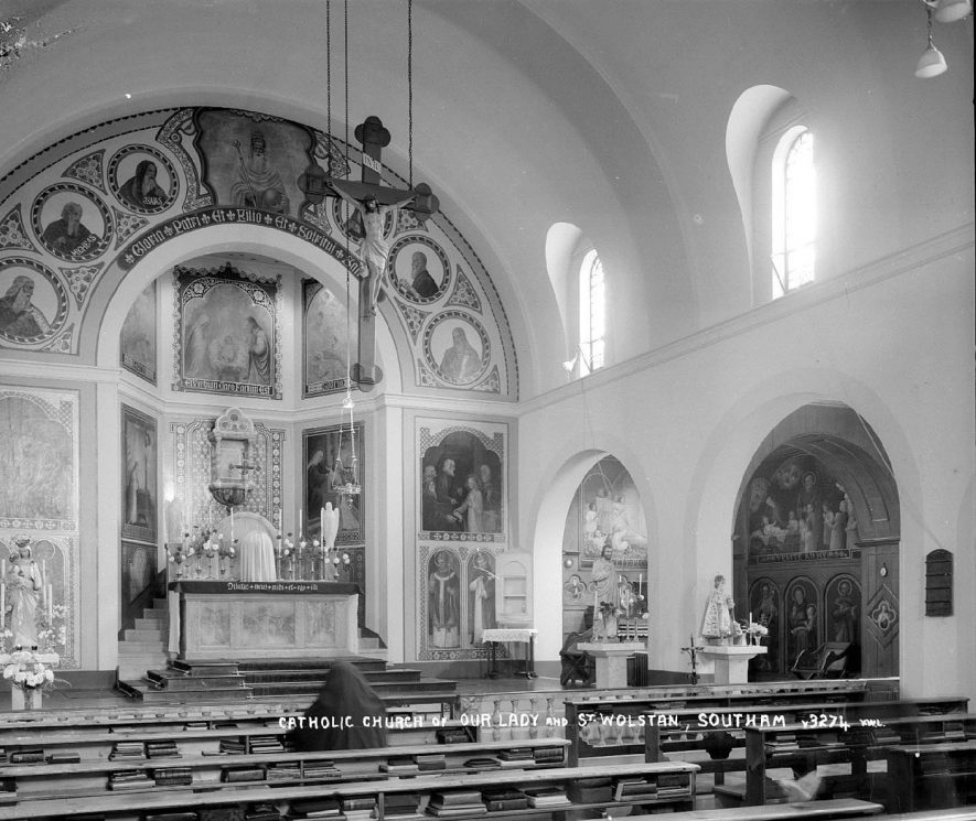Interior of Southam Catholic church of Our Lady and St Wolstan  looking east.  1900s    IMAGE LOCATION: (Warwickshire County Record Office)