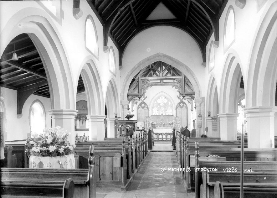 St Michael's Church interior looking east, Stockton.  1930s |  IMAGE LOCATION: (Warwickshire County Record Office)