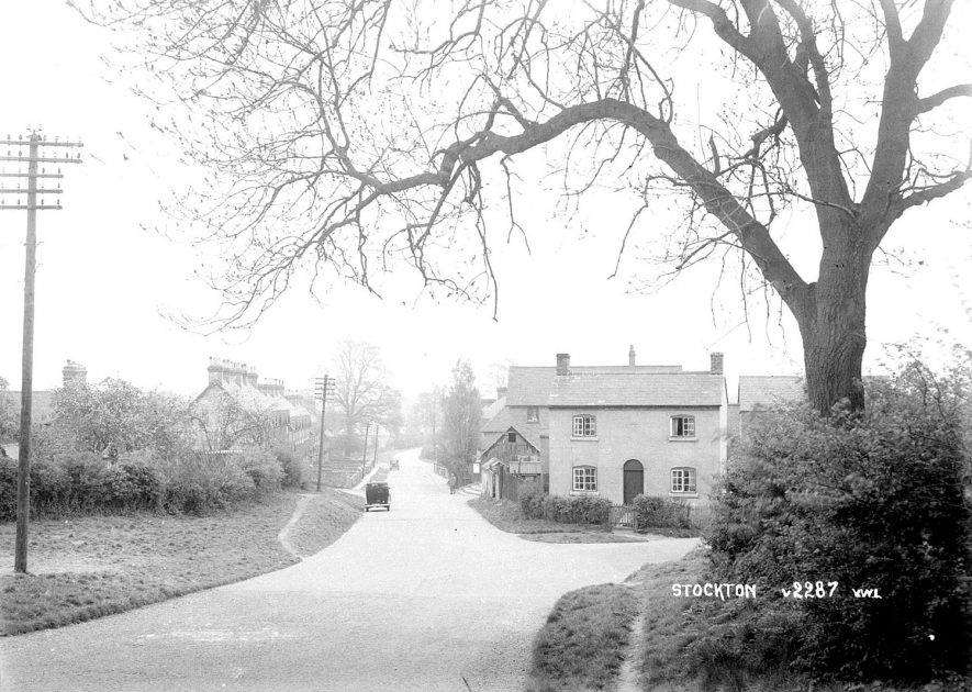 View along Napton Road with a right turn leading to village centre, Stockton.  1930s |  IMAGE LOCATION: (Warwickshire County Record Office)